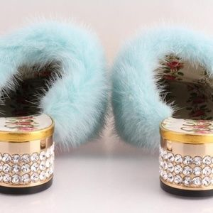 Gucci Shoes - Gucci Candy Leather & Mink Fur Embellished Mule Pu